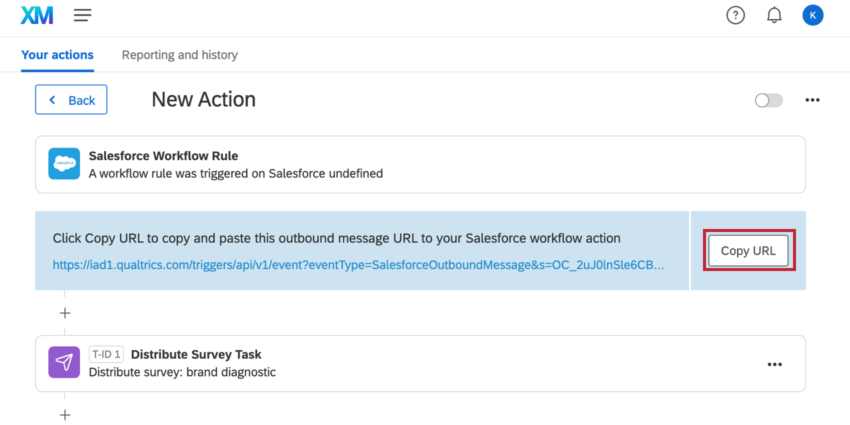the copy URL button next to the outbound message URL