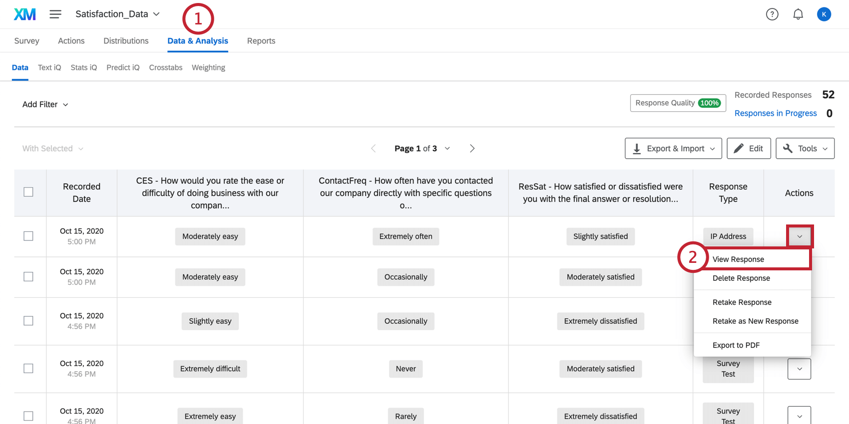 View response in the Data & Analysis tab