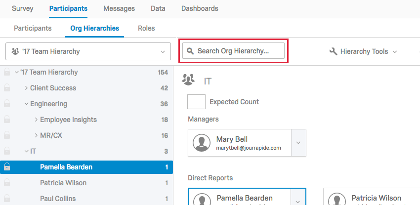 the search at the top of the org hierarchy tab to search for units