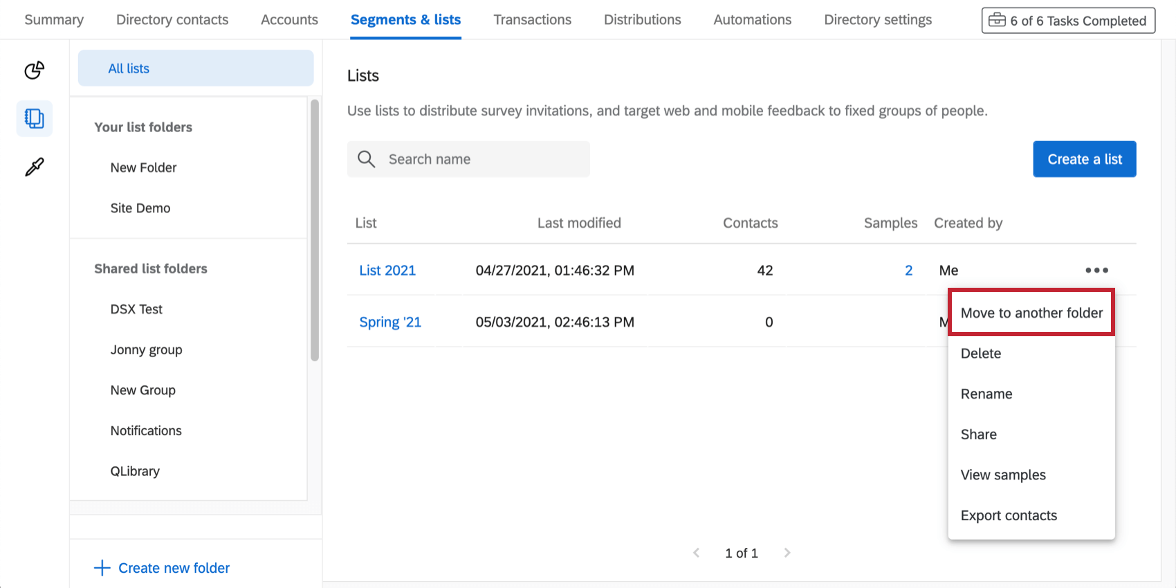 Dropdown expanded next to a mailing list to show the share option