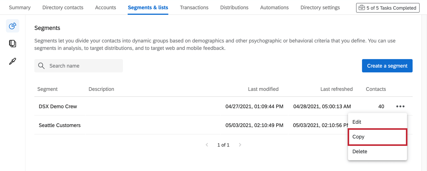 Dropdown next to segment expanded, second option to copy it