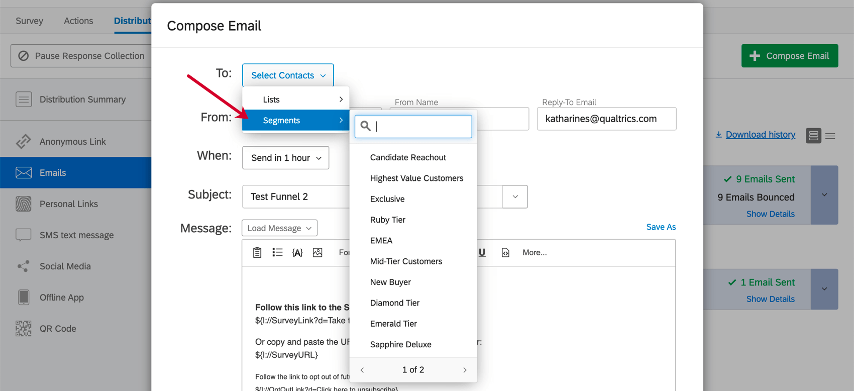 When choosing a contact list, also have the option to choose from segments in the directory