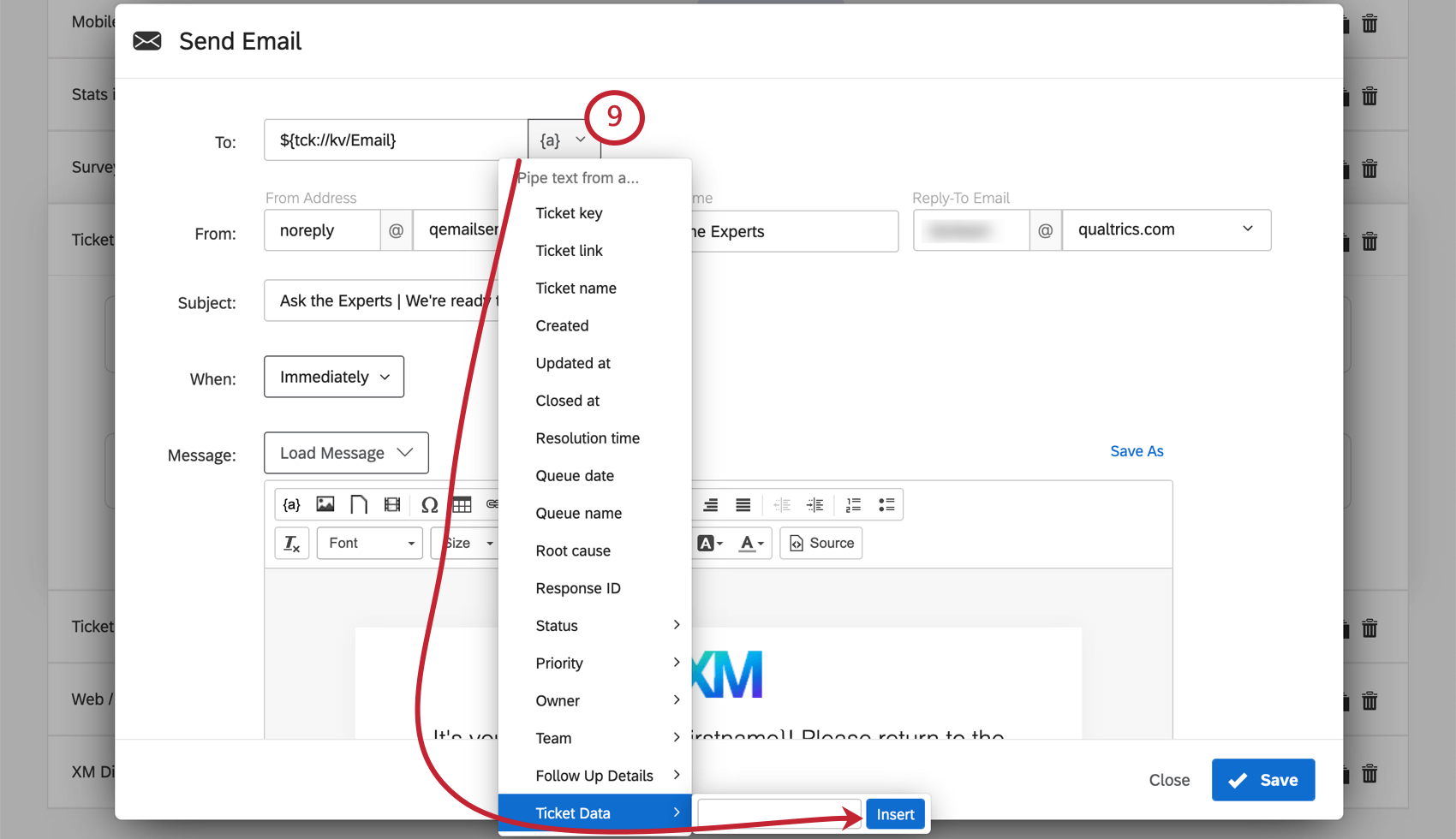 Image of Piped Text menu expanded