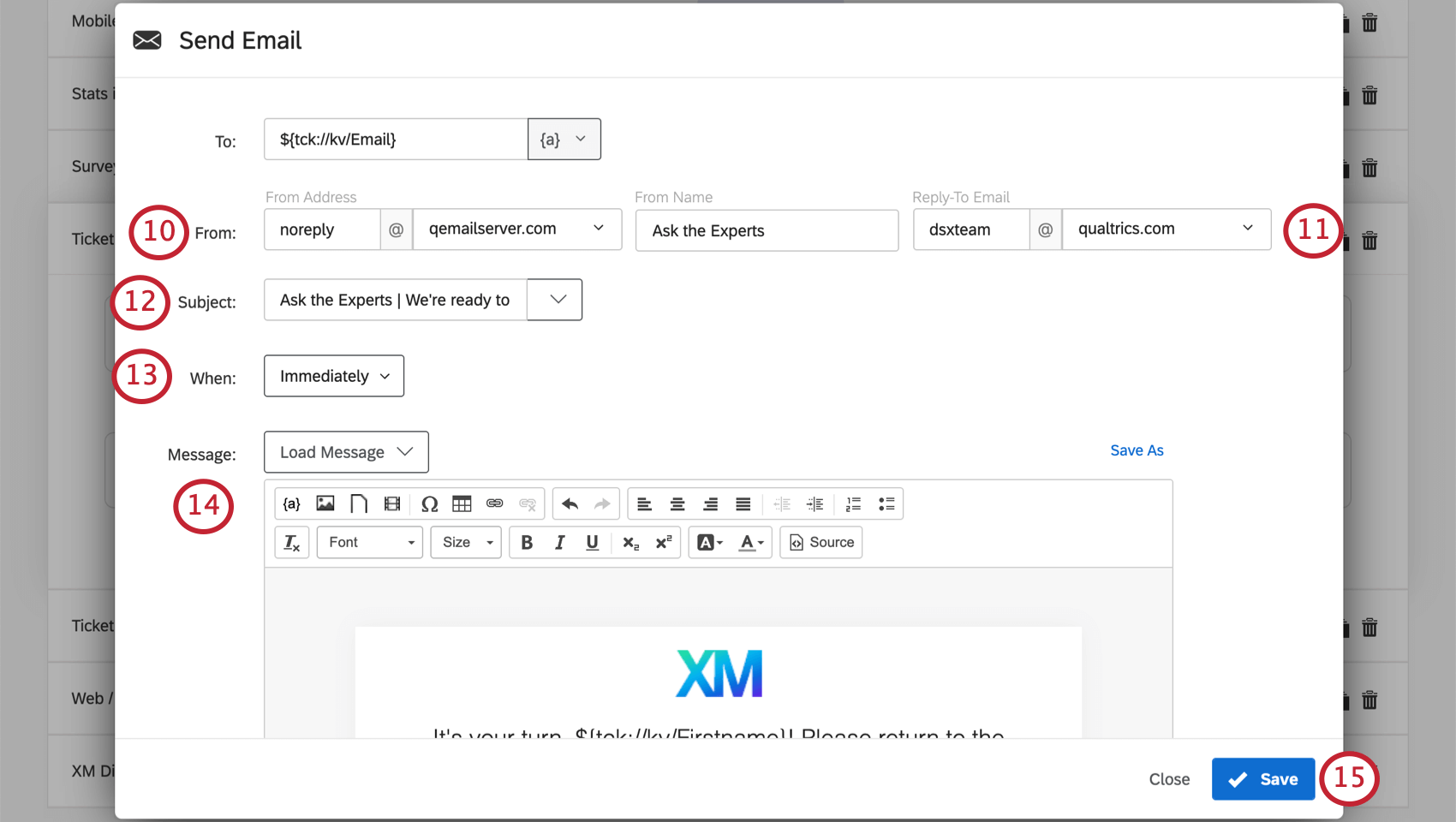 Image of an email task filled out as described