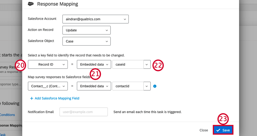 mapping the record id and contact id fields