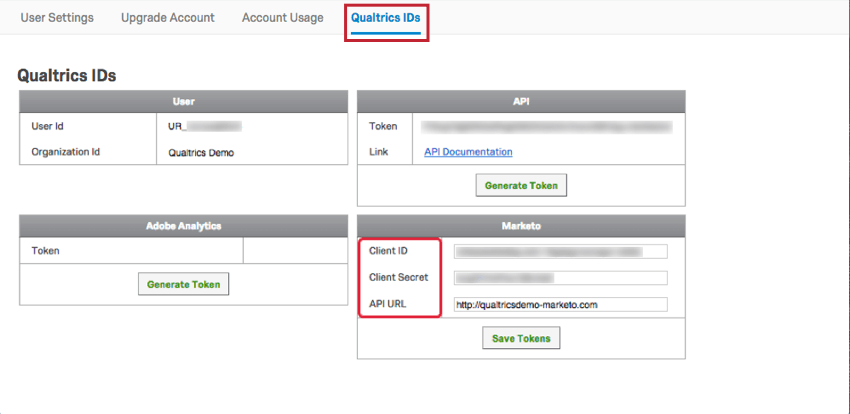 navigating to qualtrics ids and then the marketo section