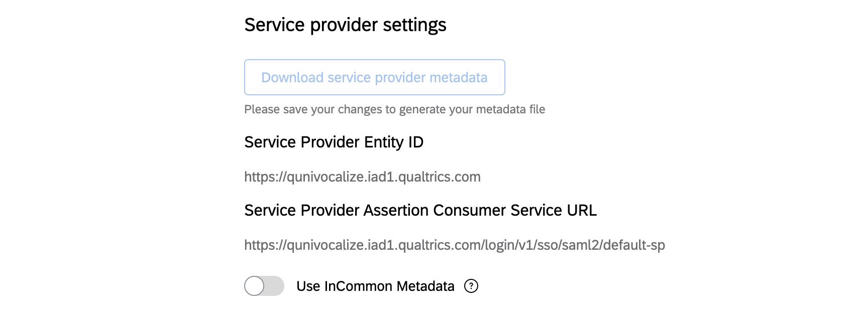 """Abbildung der Dienstanbietereinstellungen mit einer Schaltfläche """"Dienstanbietermetadaten herunterladen"""""""