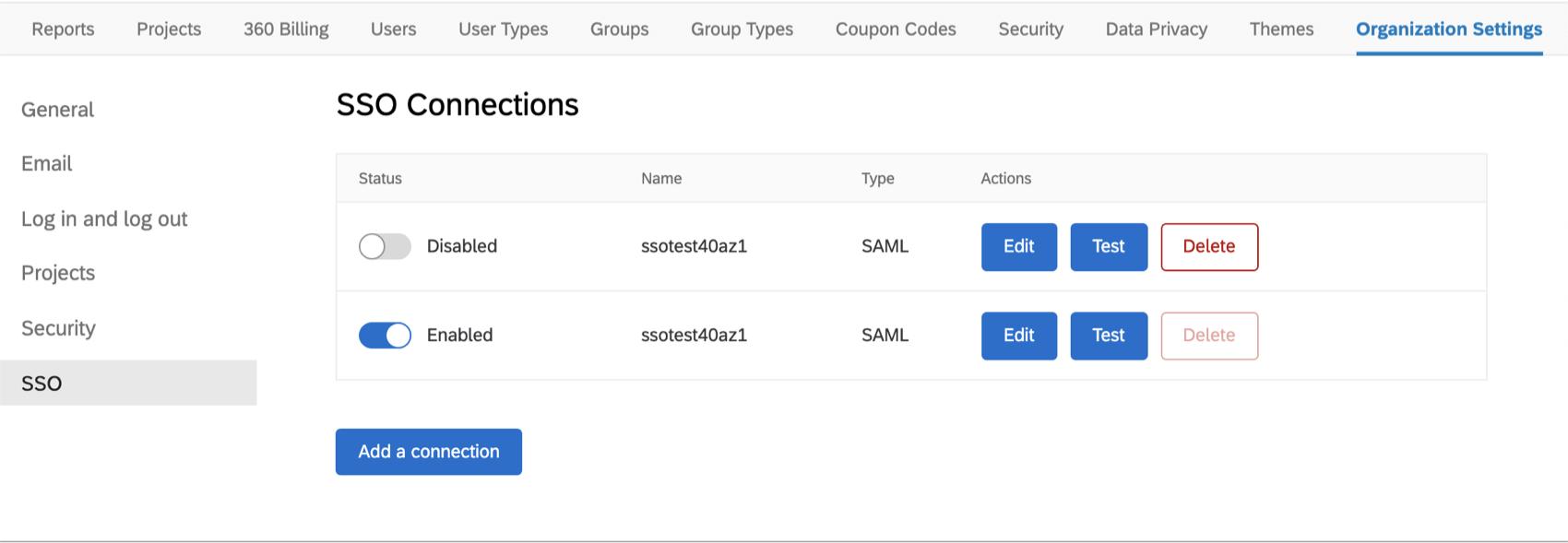Für jede aufgelistete Verbindung wird ein Statusumschalter zum Ein- und Ausschalten, der Name sowie Schaltflächen zum Bearbeiten, Testen und Löschen angezeigt.
