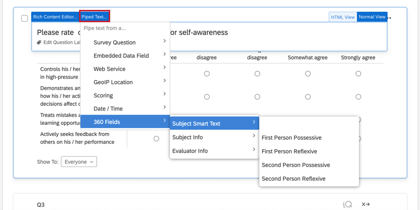 using the piped text menu to select subject smart text