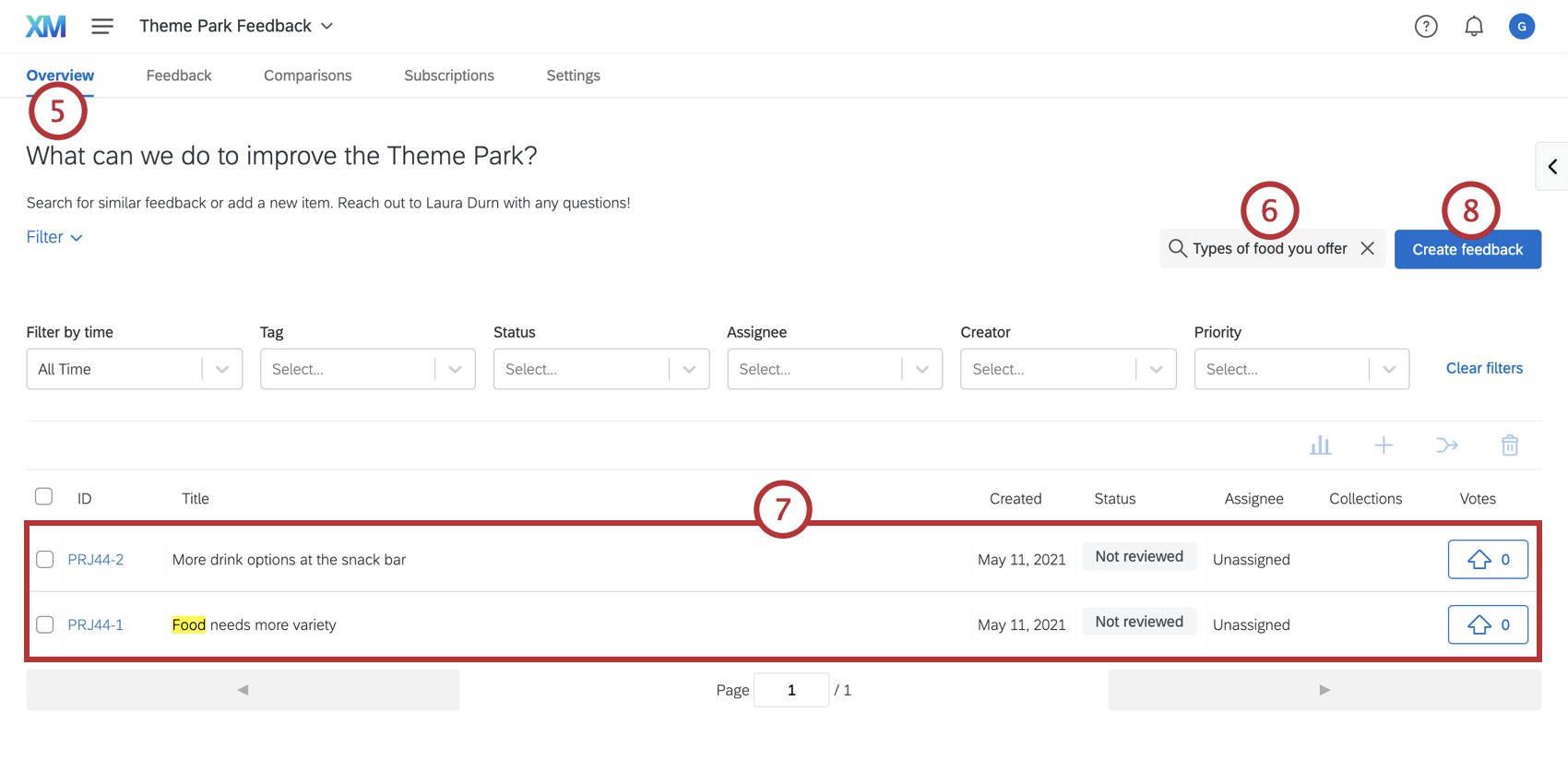 Searching for and submitting feedback from the overview tab