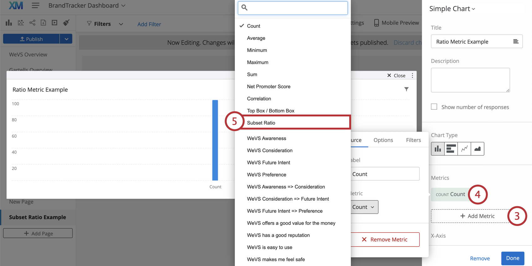 Subset Ratio is selected in the Metric drop down menu while configuring a widget