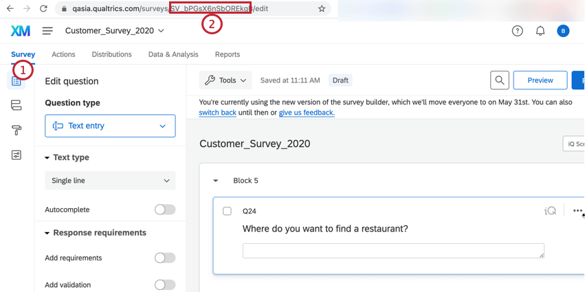 finding the survey ID in the web browser url