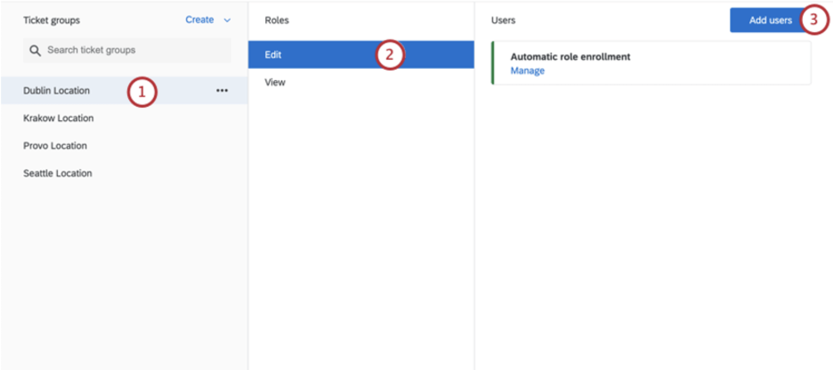 Group selected left, role selected middle, users added on right