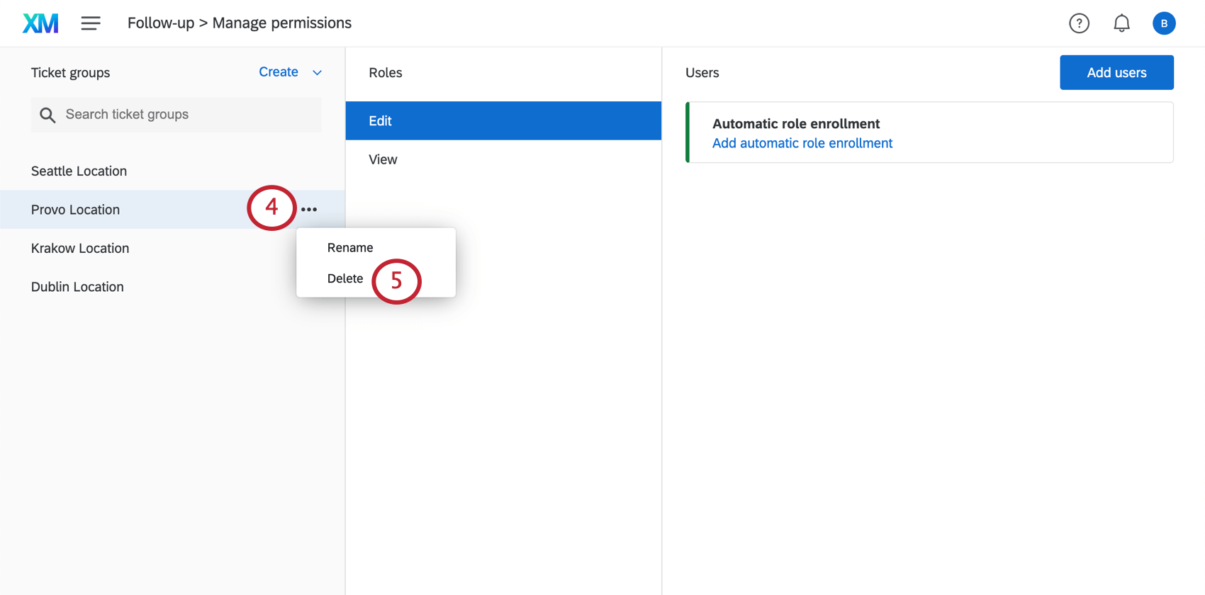 selecting the delete option for a group