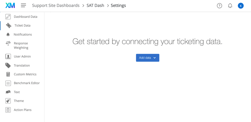 Center of ticket data page, blue add data button