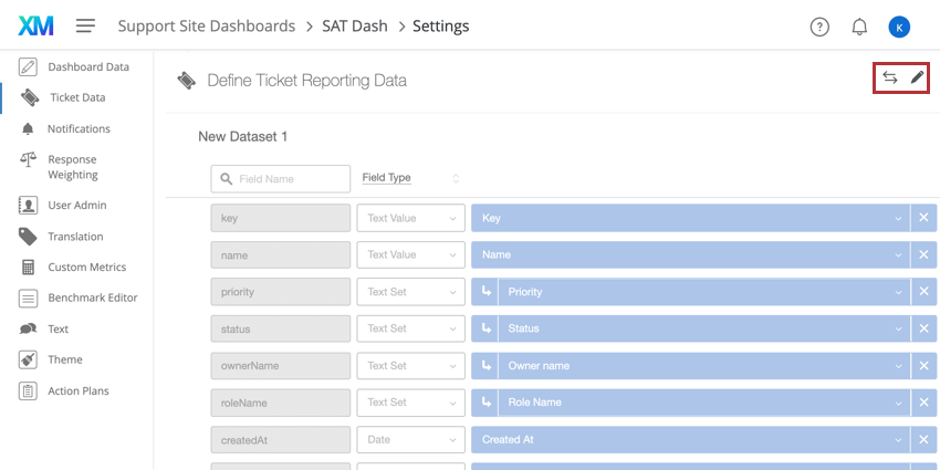 Buttons in upper-right of ticket data editor