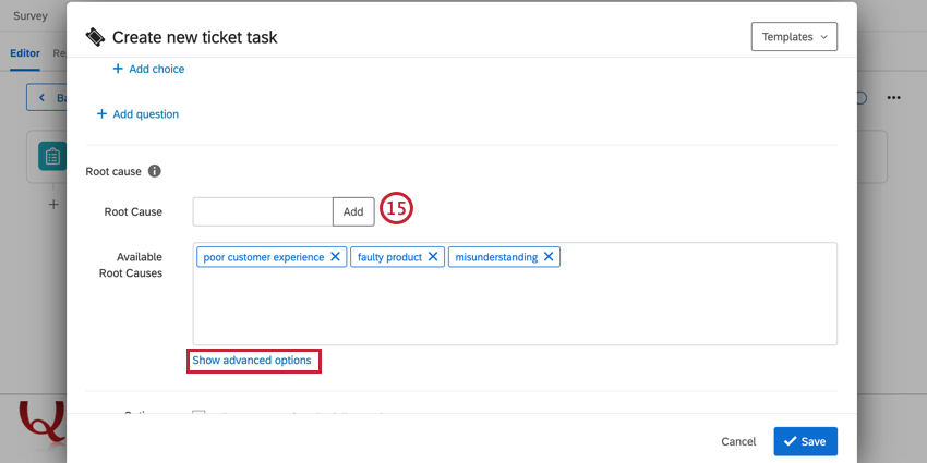 adding root causes and clicking show advanced options