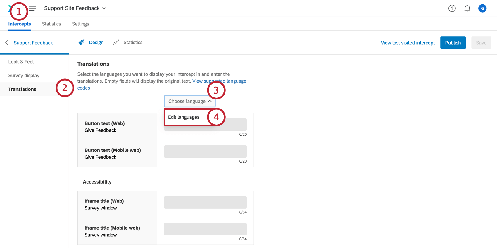 Adding translations to a feedback button or responsive dialog creative