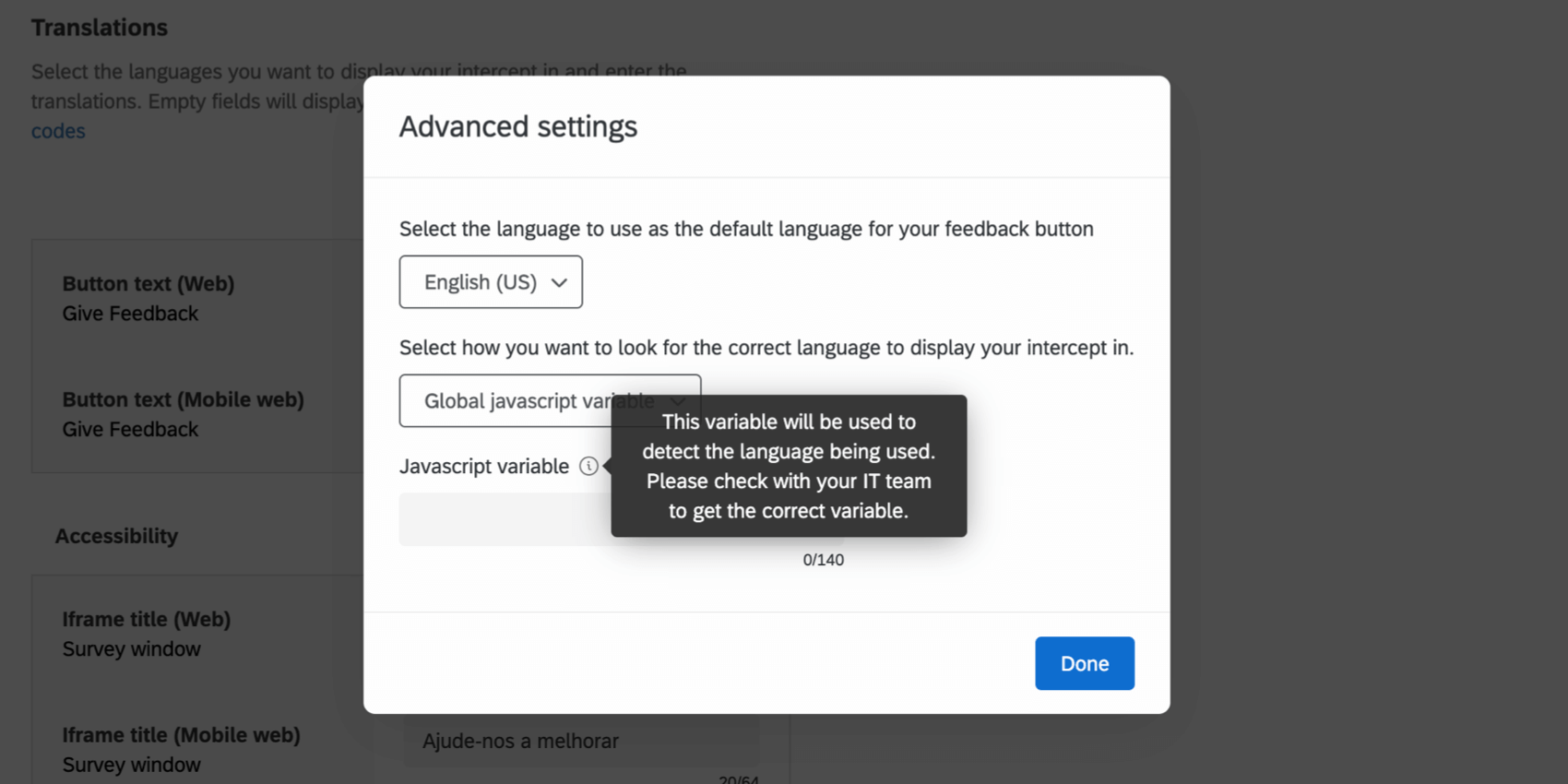 Using a Javascript variable in the Advanced settings