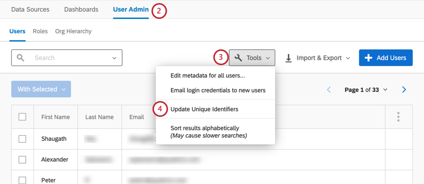 User admin tab of dashboard. On right of page is a white Tools button; update unique identifiers is the second to last option