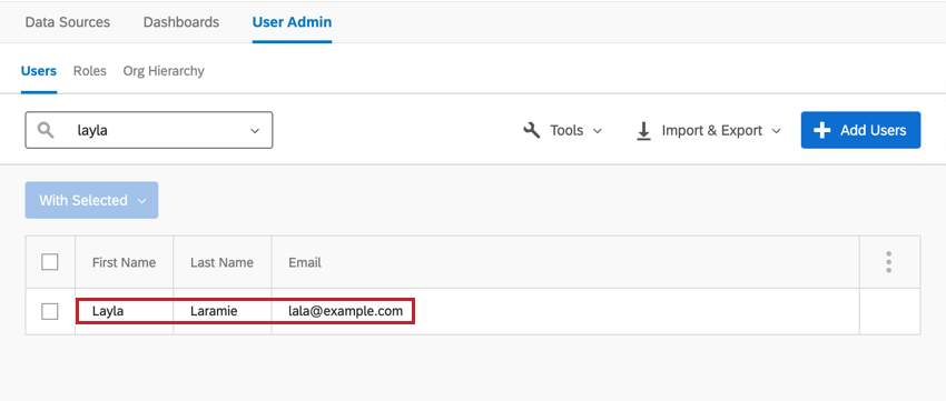 Searching for and selecting a user in the user admin tab