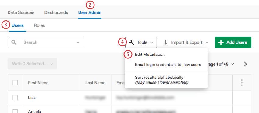 Image of editing metadata in the suer admin tab