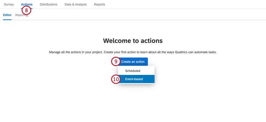 navigating to actions and creating an event-based action