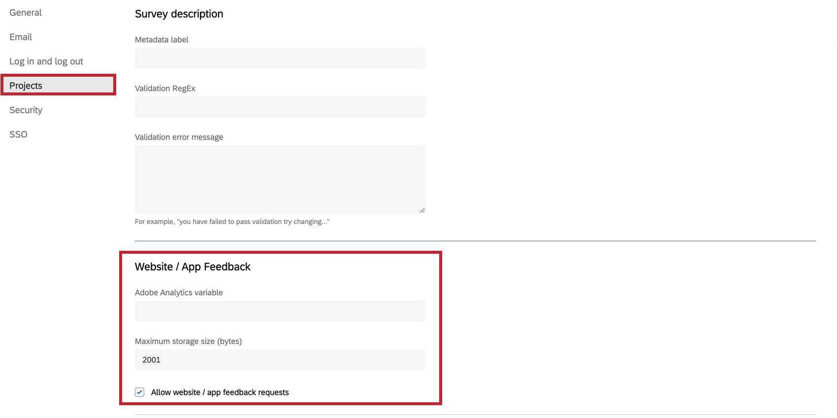 Website / App Feedback settings in the Projects section of the Organization Settings page