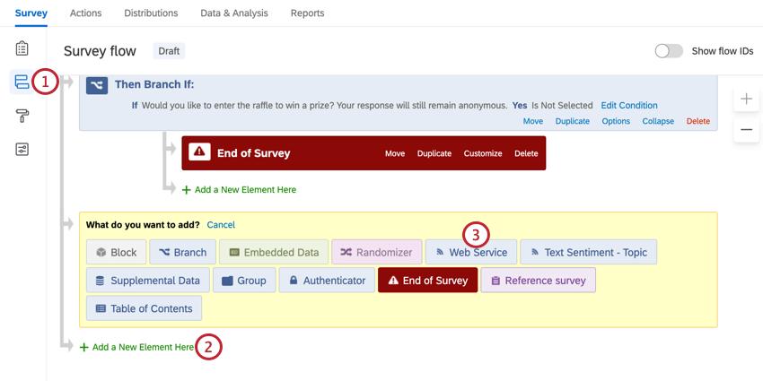 Navigieren zum Umfragenverlauf und Hinzufügen eines Web Service-Elements