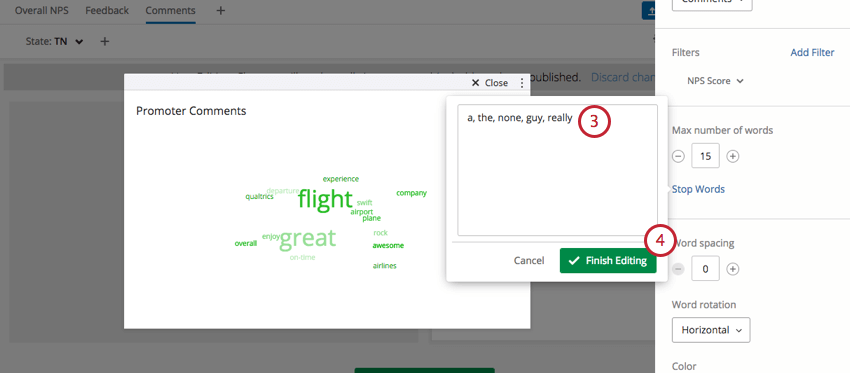 Text box to enter stop words