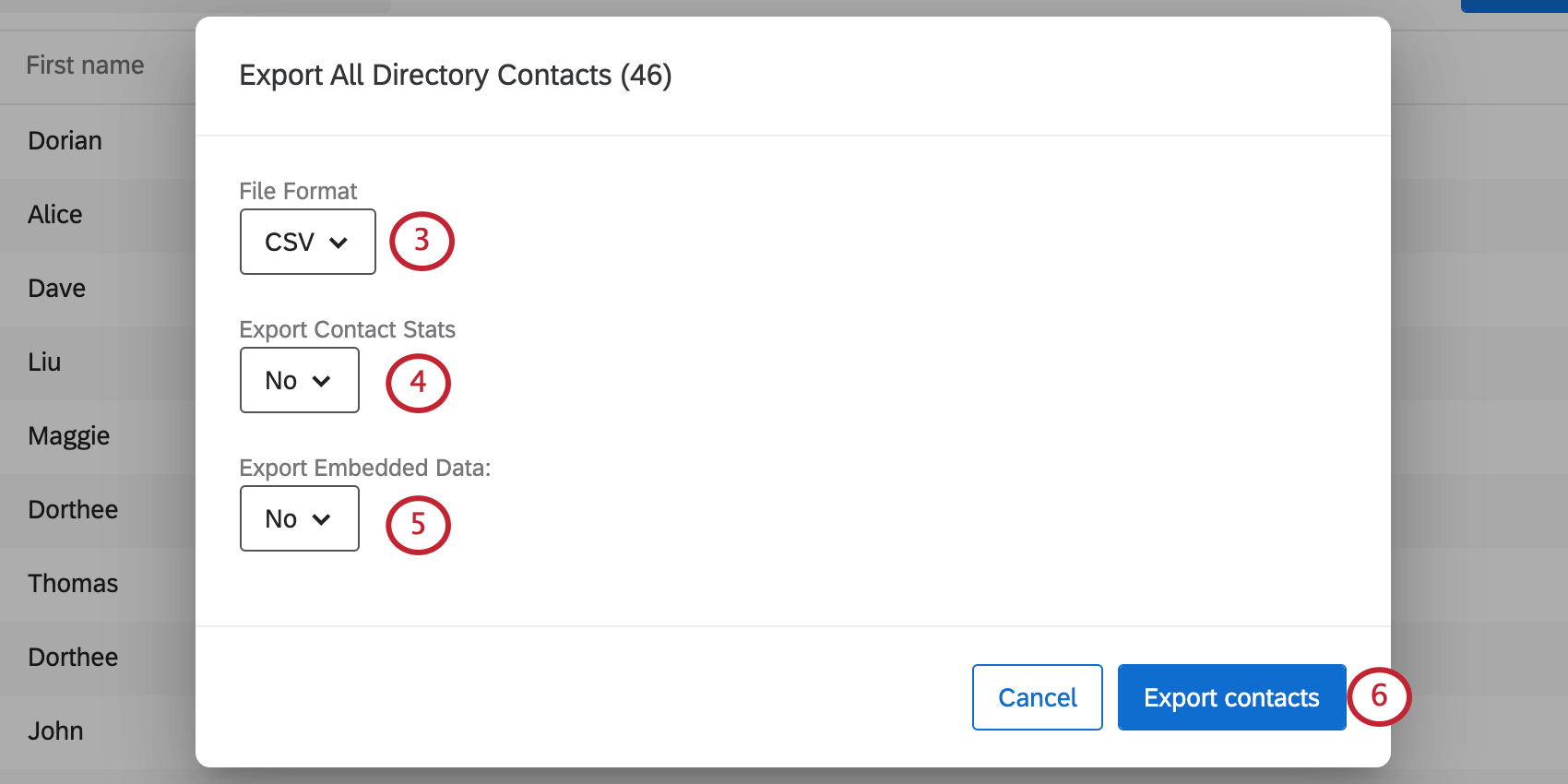 The Export contacts window