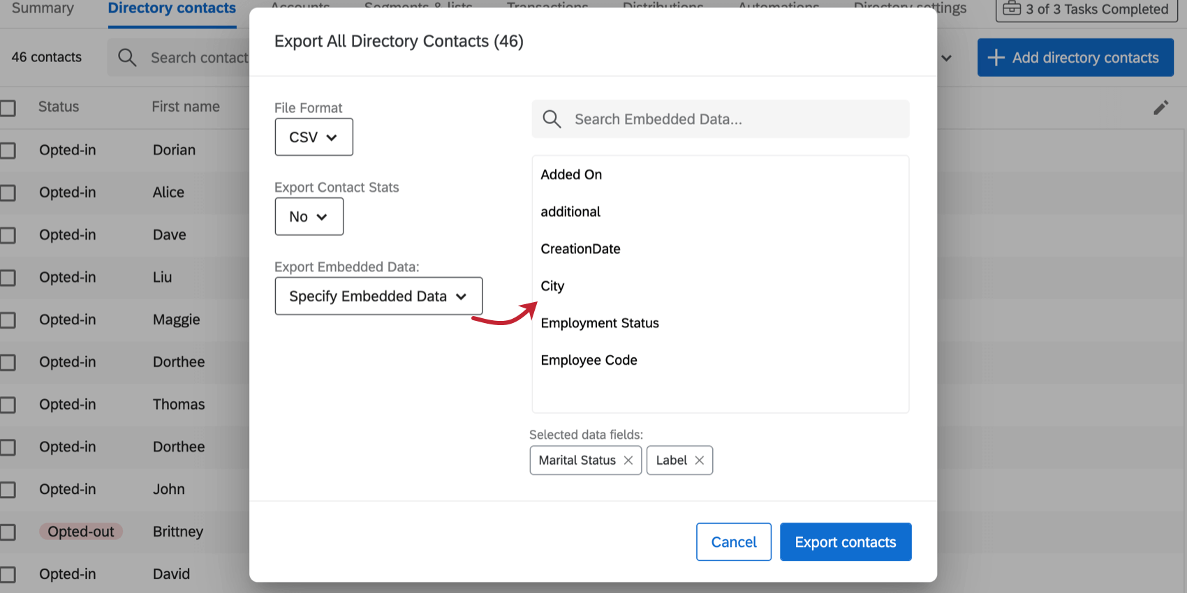 Specify Embedded Data is selected and a box of selectable fields appears to the right