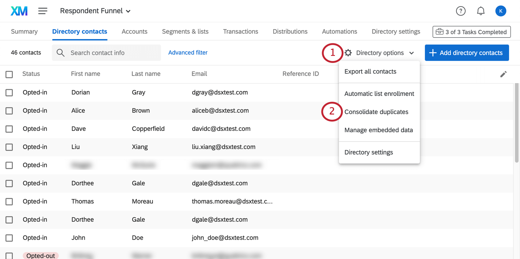 clicking consolidate duplicates in directory options