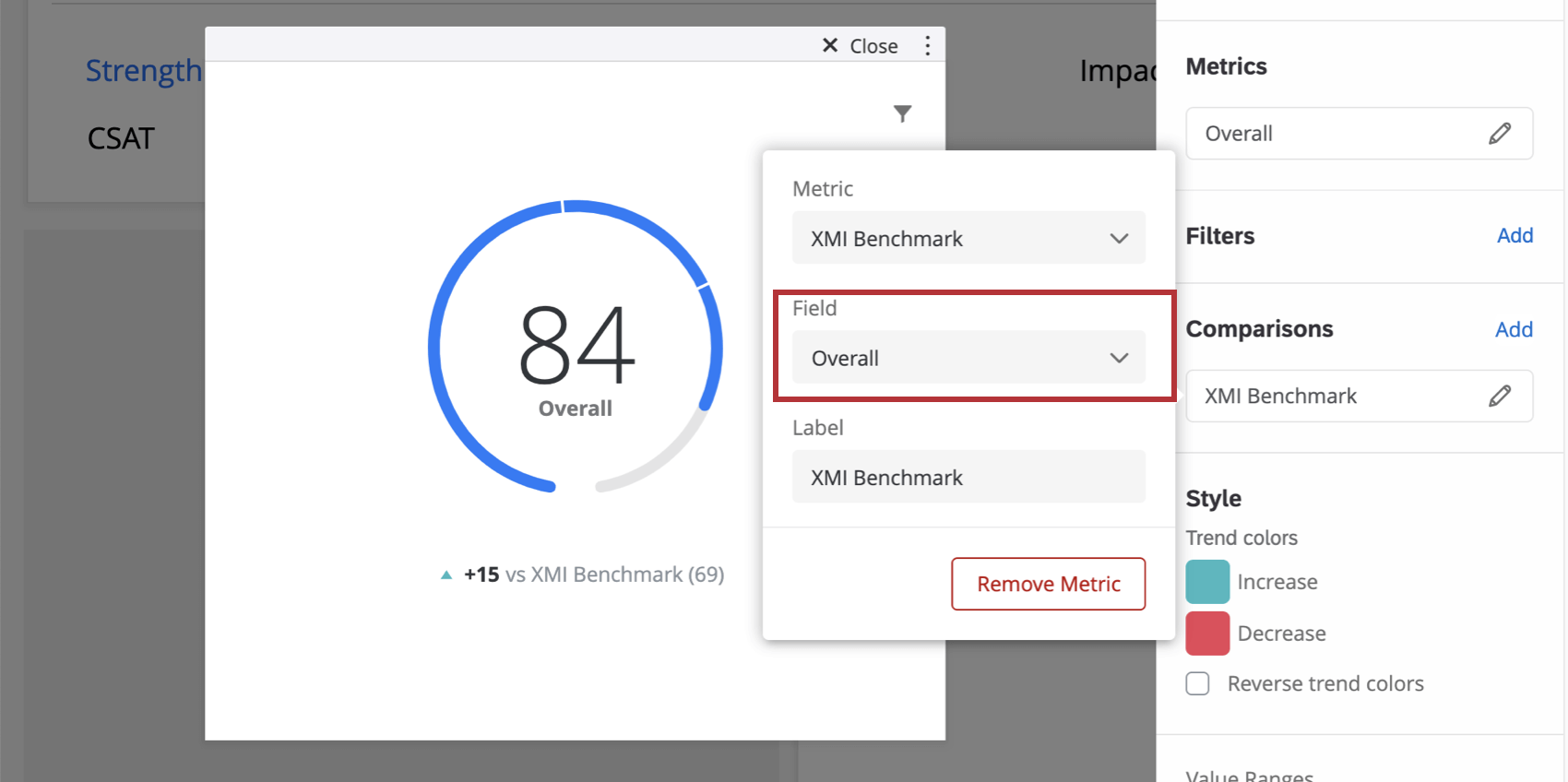 Image showing how to configure a metric on a gauge chart widget