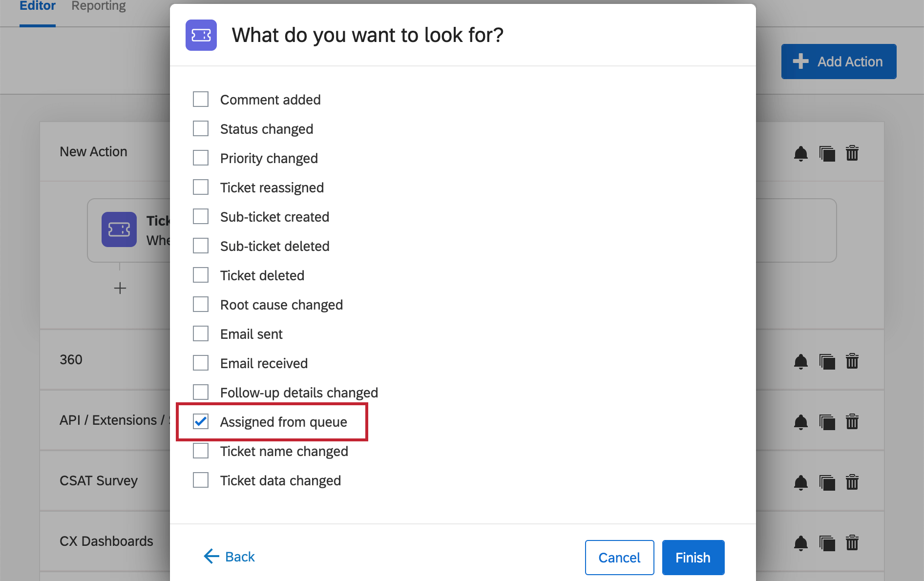 Image of window where there's tons of options for ticket events, but assigned from queue is the one selected