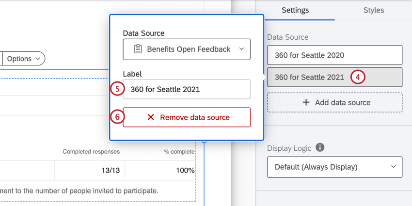 clicking the data source, adding a label, or removing the source