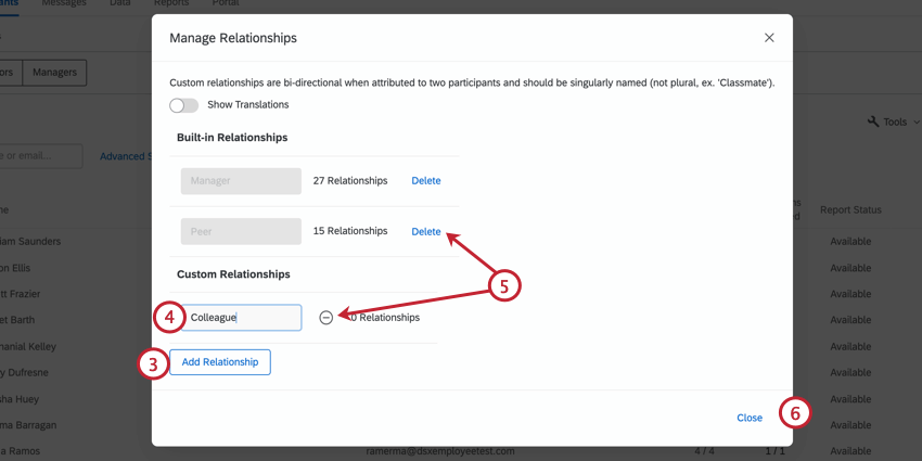 clicking add relationship and giving the relationship a name. removing relationships by clicking delete or the minus sign