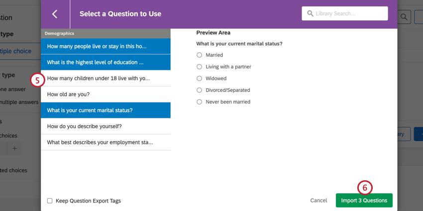 choosing the questions and then clicking import