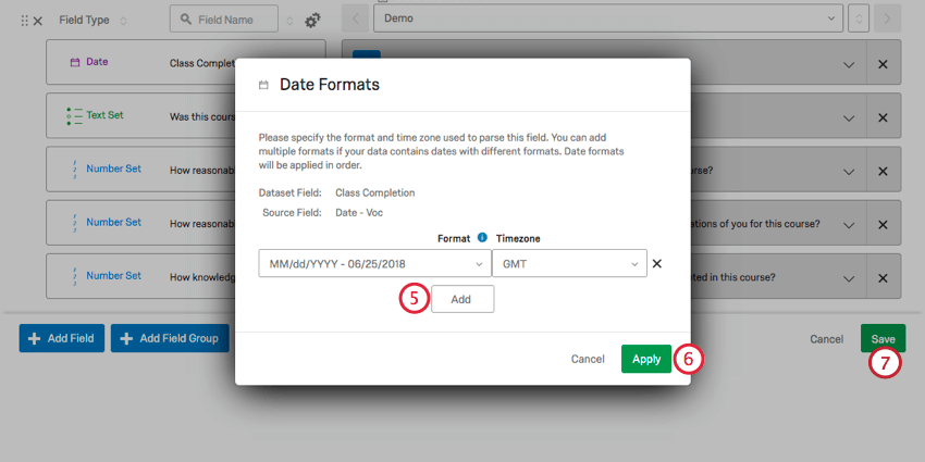 clicking add to add additional formats, and then clicking apply when done. After, click save to save changes.