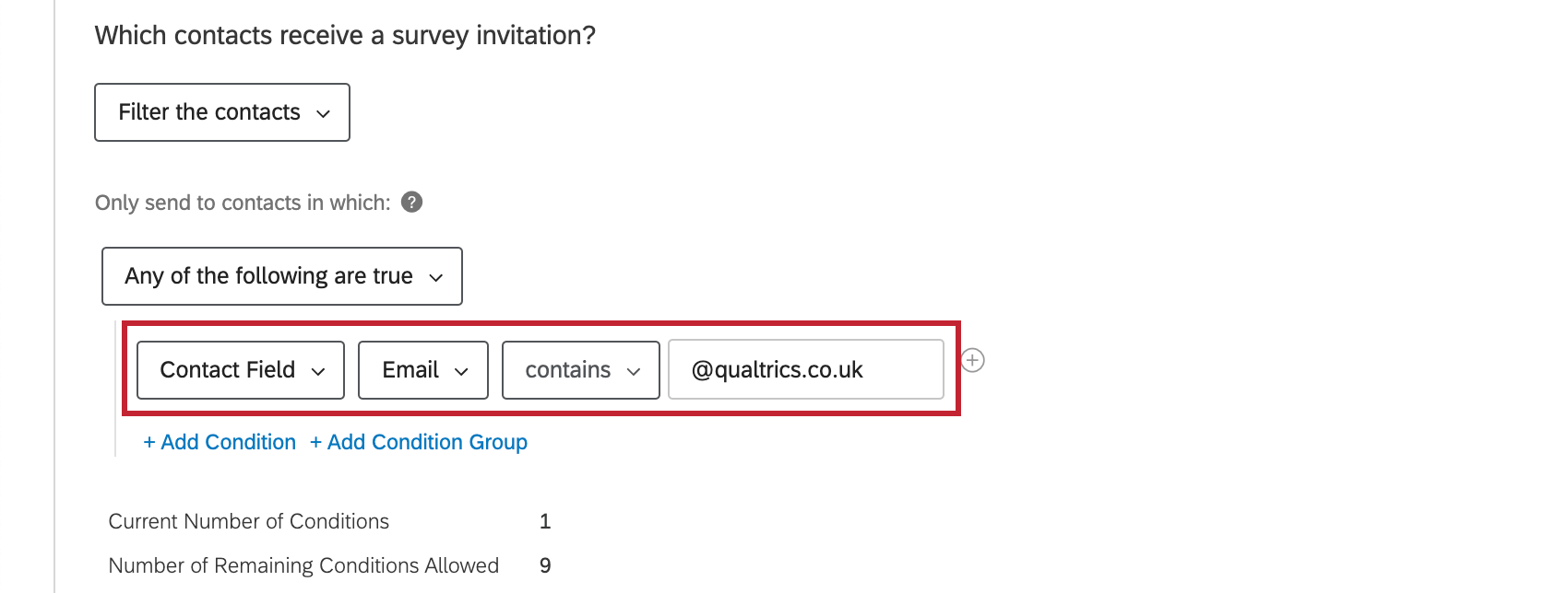 Condition says email address must contain @qualtrics.co.uk