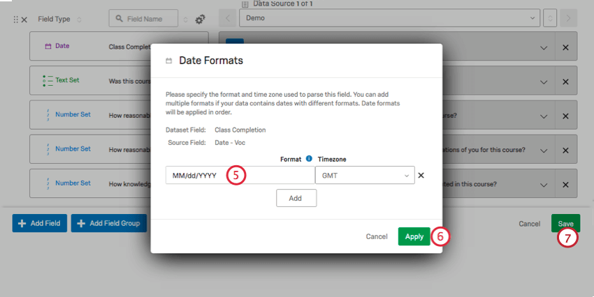 entering a custom date format, clicking apply, then clicking save.