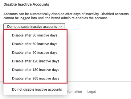 Different conditions you can set when automatically disabling inactive accounts