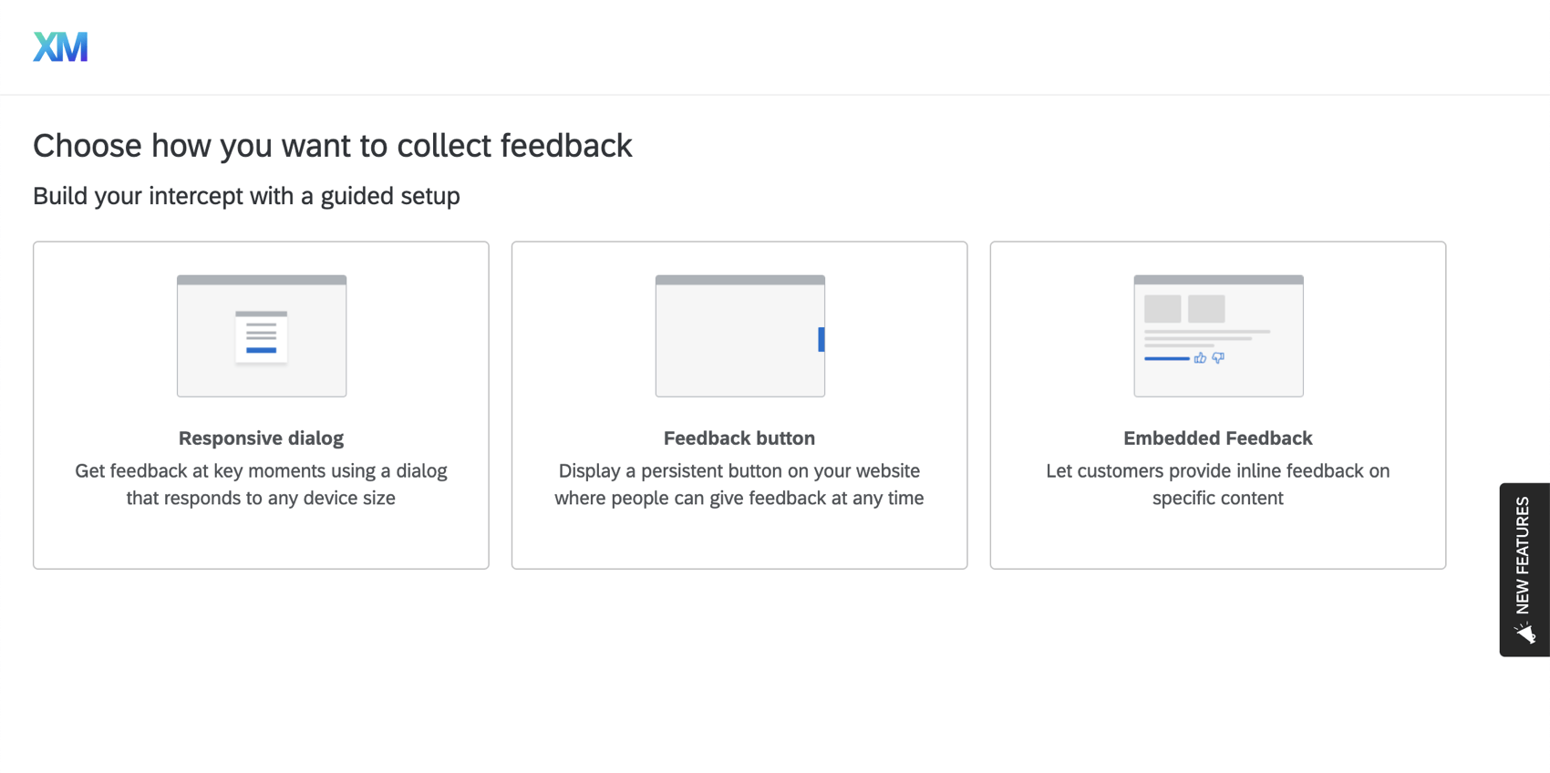 Website app feedback option on the distributions page, where you choose from various feedback options