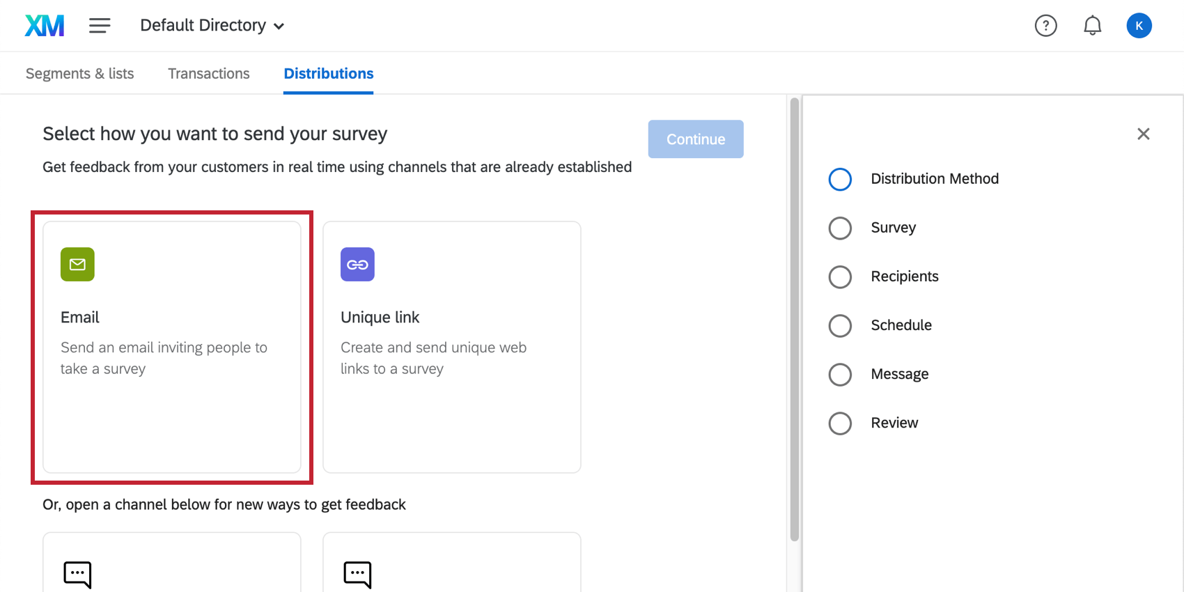 """Email option after you've clicked the """"Create Distribution"""" button"""