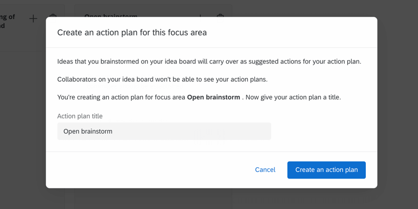 the creating an action plan popup