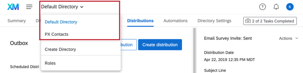 How to navigate between multiple directories using the dropdown at the top