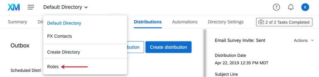 How to access roles from the dropdown at the top of the directory