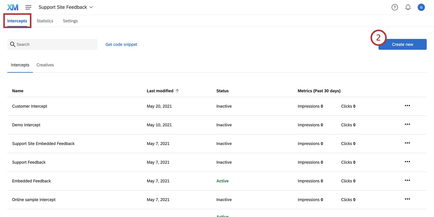 Creating a new intercept under the Intercepts tab