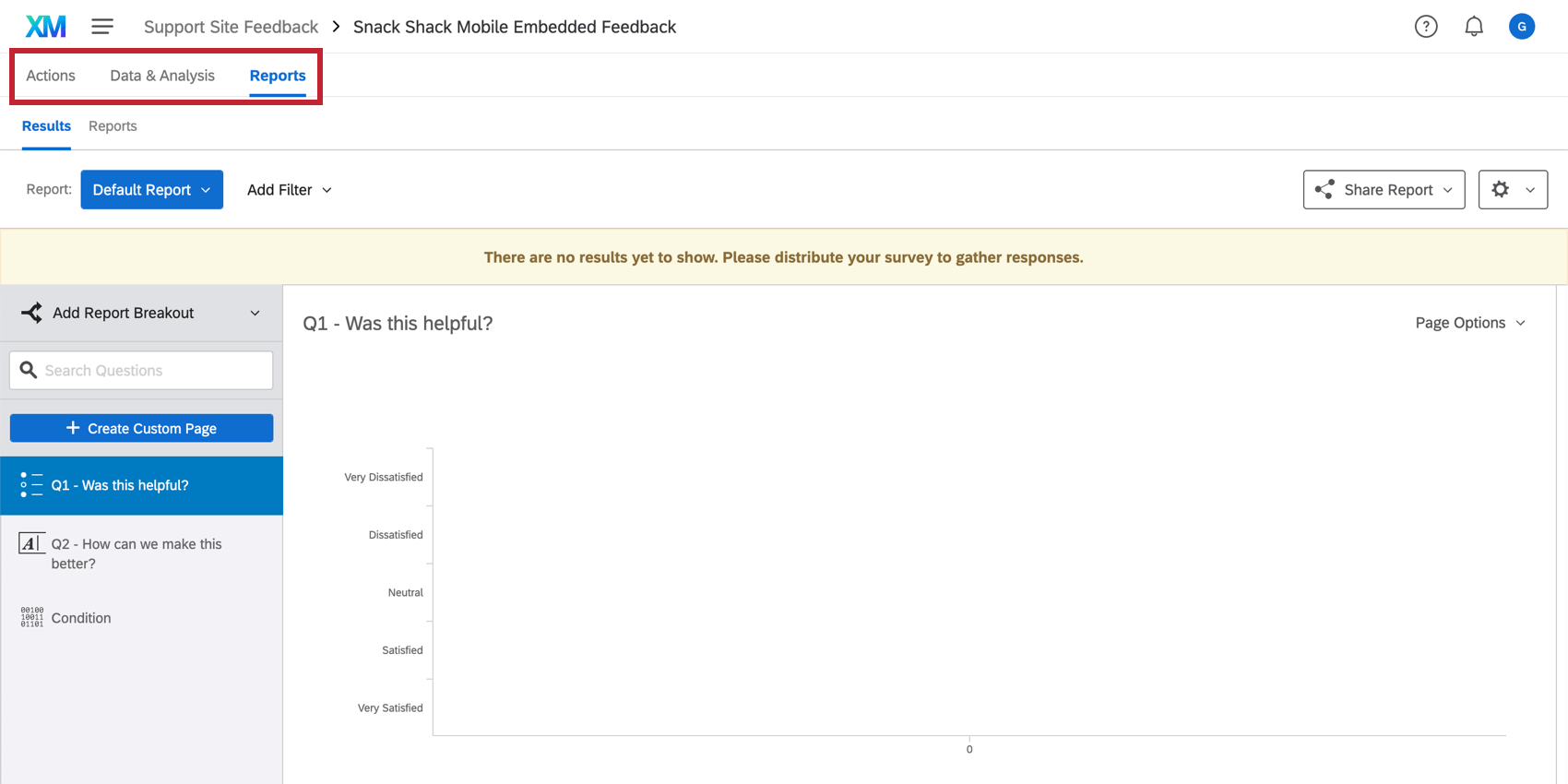 Tabs available after clicking view survey responses