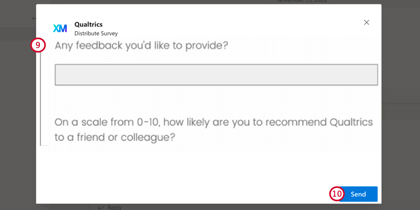 previewing the survey and clicking send